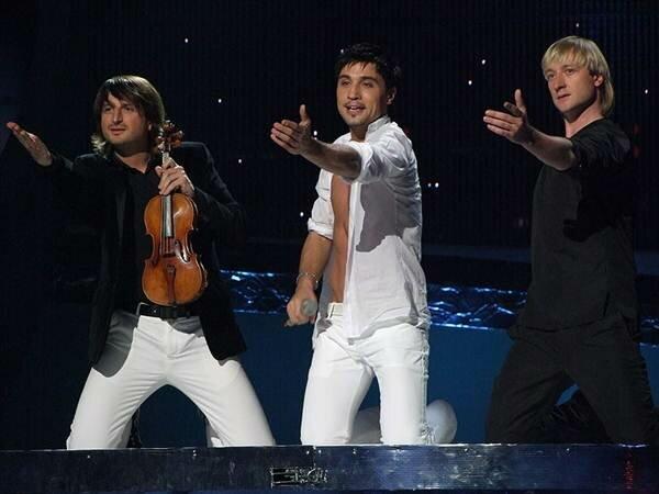 Эдвин Мартон, Дима Билан и Евгений Плющенко на конкурсе Евровидение-2008