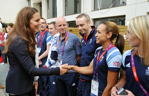 Catherine, Duchess of Cambridge speaks with Great Britain athlete Jessica Ennis  Read more: http://www.ottawacitizen.com/life/Photos+Kate+Middleton+style/4340424/story.html#ixzz23XORr7QG