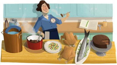 Google посвятил сегодня Джулии Чайлд очередной юбилейный дудлик на странице своего поисковика