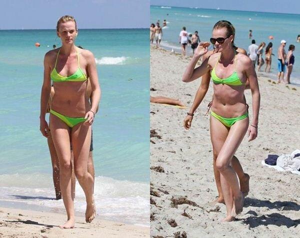Ирина Шейк и Анна Вялицына на пляже Майами. Фотографии