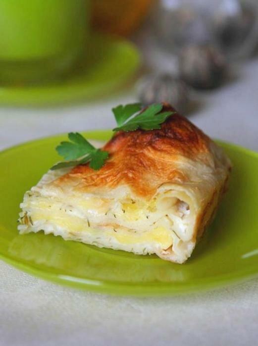 Пирог из лаваша с сыром и зеленью. Фотографии