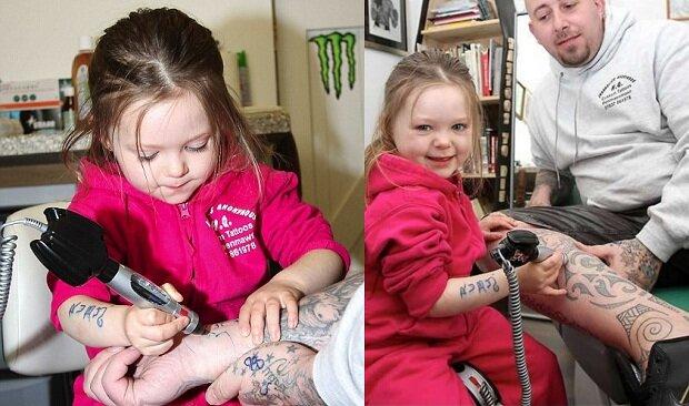 Руби Диккенсон. Самая маленькая девочка татуировщик. Фотографии