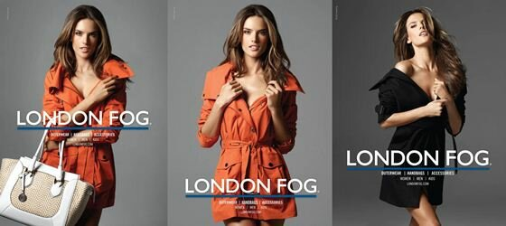 Алессандра Амбросио в кадре и за кадром рекламы London Fog. Фотографии