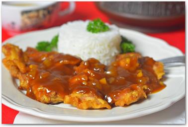 Китайское блюдо. Свинина в кляре с кисло-сладким соусом. Кулинарный рецепт. Фотографии