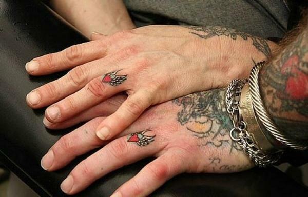 Татуировки в виде обручальных колец. Фотографии