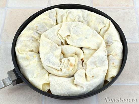 Мясной пирог из лаваша. Фотографии