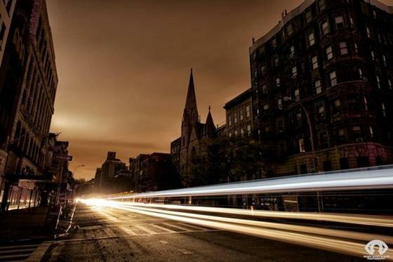 Ночные огни Нью-Йорка после урагана «Сэнди»